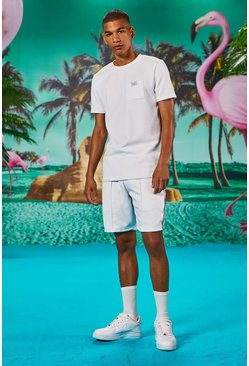 White Man Muscle Fit T-Shirt & Short Set With Piping