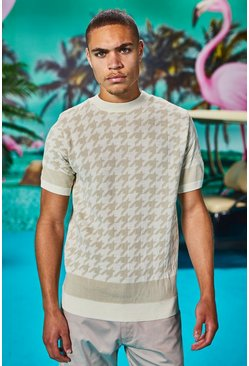 Cuff Detail Knitted Dogtooth T-Shirt, White