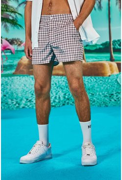 Tan Smart Buckle Swim Shorts In Dogtooth Print