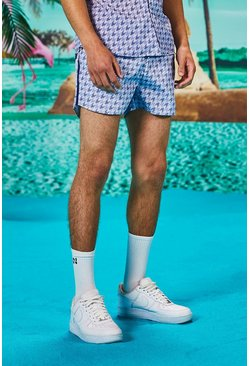Man Piping Detail Runner Dogtooth Swim Shorts, Blue