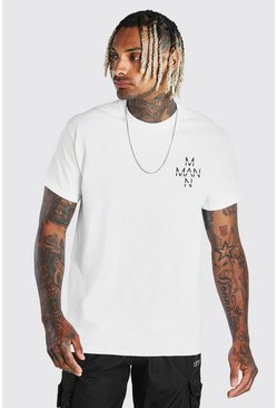Original Man Cross Chest Print T-Shirt, White