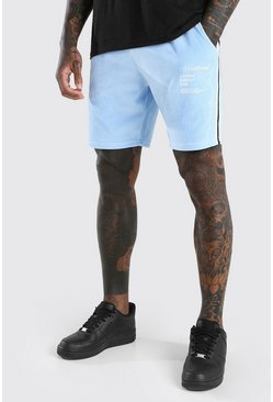 Powder blue MAN Official Velour Short With Side Tape