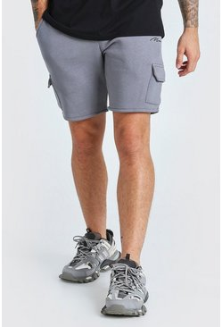 Short cargo mi-long en jersey Signature MAN, Anthracite :