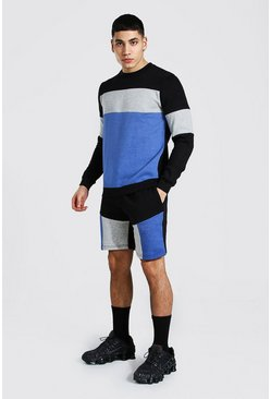 Trainingsanzug mit Shorts im Colorblock-Design, Blau