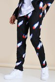 Black Skinny Basketball Print Suit Trouser