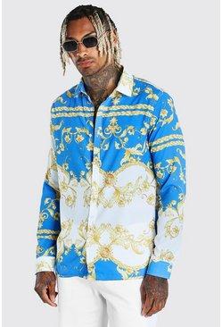Blue Long Sleeve Baroque Print Shirt