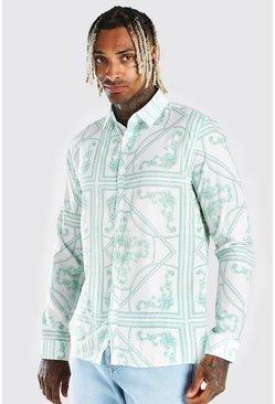 Grey Long Sleeve Baroque Print Shirt