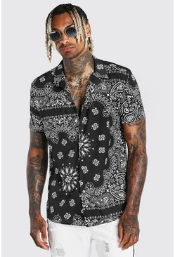 Black Short Sleeve Bandana Print Shirt