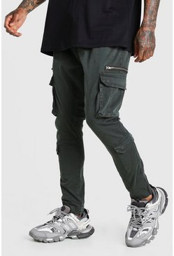 Charcoal Skinny Fit Cargo Trouser With Zip Pockets