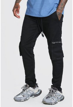 Black Elastic Waist Slim Fit Cargo Pants With Zips