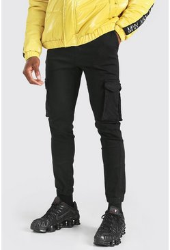 Black Elastic Waist Slim Fit Cargo Pants With Cuffs