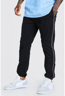 Black Elastic Waist Pants With Piping