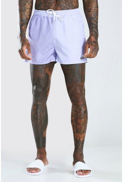 Lilac MAN Dash Colour Block Mid Length Swimshort