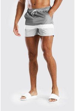 Grey MAN Signature Colour Block Mid Length Swimshort