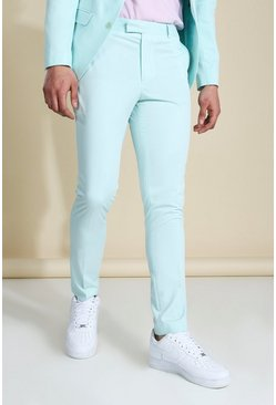 Mint Skinny Badged Suit Trousers
