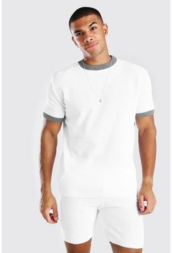 White Knitted T-Shirt And Short Set With Contrast Trim