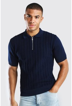 Navy Textured Smart Half Zip Muscle Fit Knitted Polo