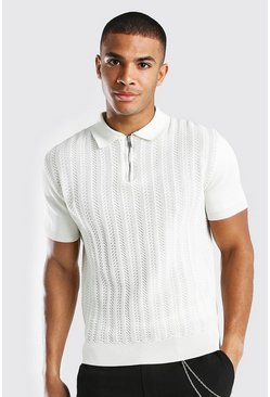 Cream Textured Smart Half Zip Knitted Polo
