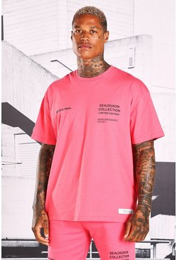 T-shirt coupe oversize imprimé Official MAN, Rose