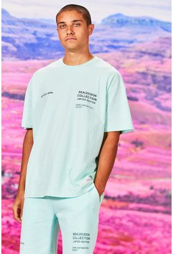 T-shirt coupe oversize imprimé Official MAN, Menthe