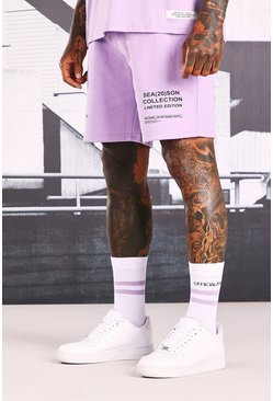 Short en jersey imprimé Official MAN, Lilas