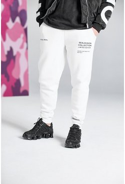 White Official Man Print Joggers