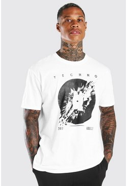 White Oversized Broken Vinyl Print T-Shirt