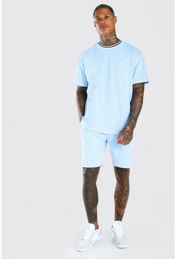 Ensemble t-shirt et short coupe oversize en velours MAN, Bleu clair