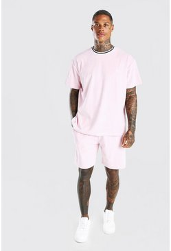 Ensemble t-shirt et short coupe oversize en velours MAN, Rose clair