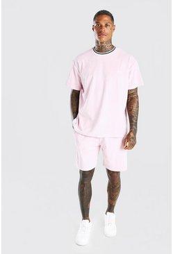 Light pink MAN Oversized Velour T-Shirt & Short Set
