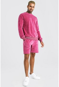 Pink MAN Signature Velour Sweater Short Tracksuit