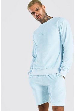 Light blue MAN Signature Velour Sweater Short Tracksuit