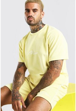 Ensemble t-shirt et short en velours à passepoil MAN, Jaune