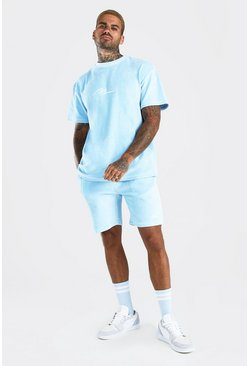 Powder blue MAN Velour T-Shirt & Short Set with Piping