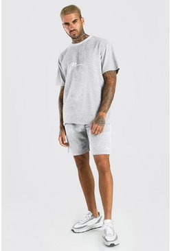 Ensemble t-shirt et short en velours à passepoil MAN, Gris