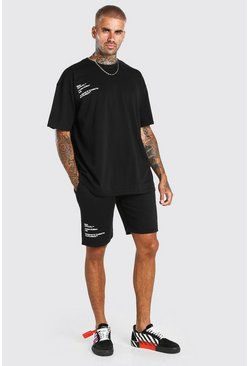 Black Official Signature Layered T-Shirt & Short Set