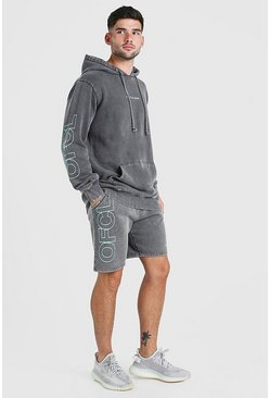 Charcoal Acid Wash MAN Sleeve Print Short Tracksuit