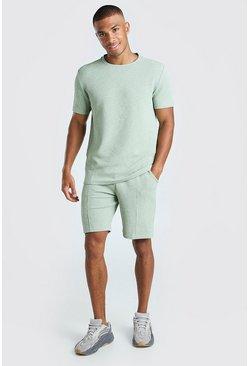 Sage MAN Signature Jacquard T-Shirt & Pintuck Short Set
