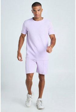 Lilac MAN Signature Jacquard T-Shirt & Pintuck Short Set