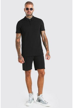 Black MAN Signature Jacquard Polo & Pintuck Short Set