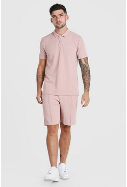 Pink MAN Signature Jacquard Polo & Pintuck Short Set