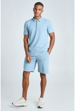 Light blue MAN Jacquard Polo & Pintuck Short Set