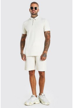 Stone MAN Jacquard Polo & Pintuck Short Set