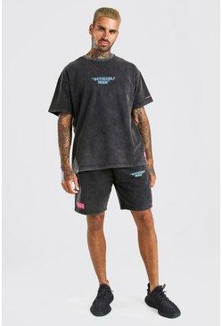 Charcoal Acid Wash MAN Printed T-Shirt & Short Set