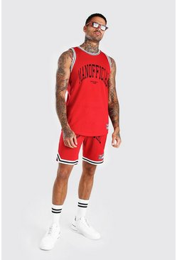 Ensemble de basketball Airtex imprimé Official MAN, Rouge