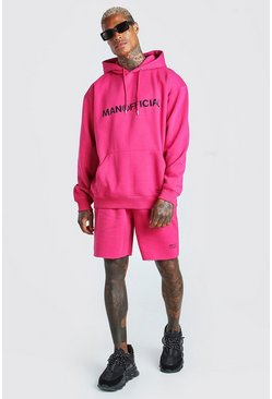 Pink MAN Official Printed Hooded Short Tracksuit