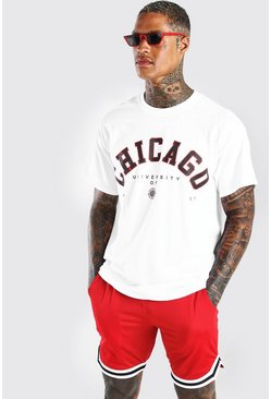 White Oversized Chicago Print T-Shirt