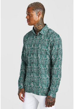 Khaki Long Sleeve Regular Collar Snake Print Shirt