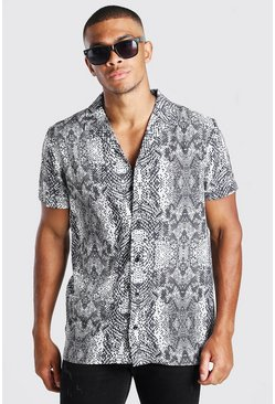 Grey Short Sleeve Revere Collar Snake Print Shirt