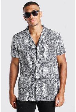 Grey Short Sleeve Revere Collar Snake Print Shirt